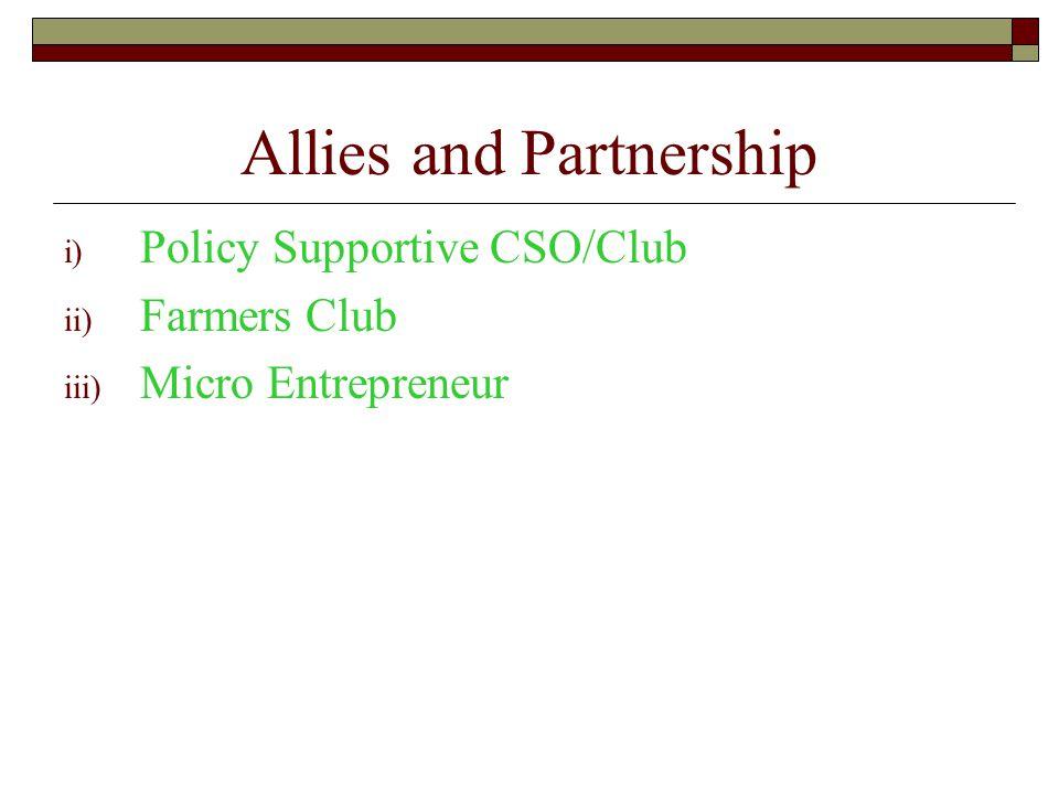 Allies and Partnership i) Policy Supportive CSO/Club ii) Farmers Club iii) Micro Entrepreneur