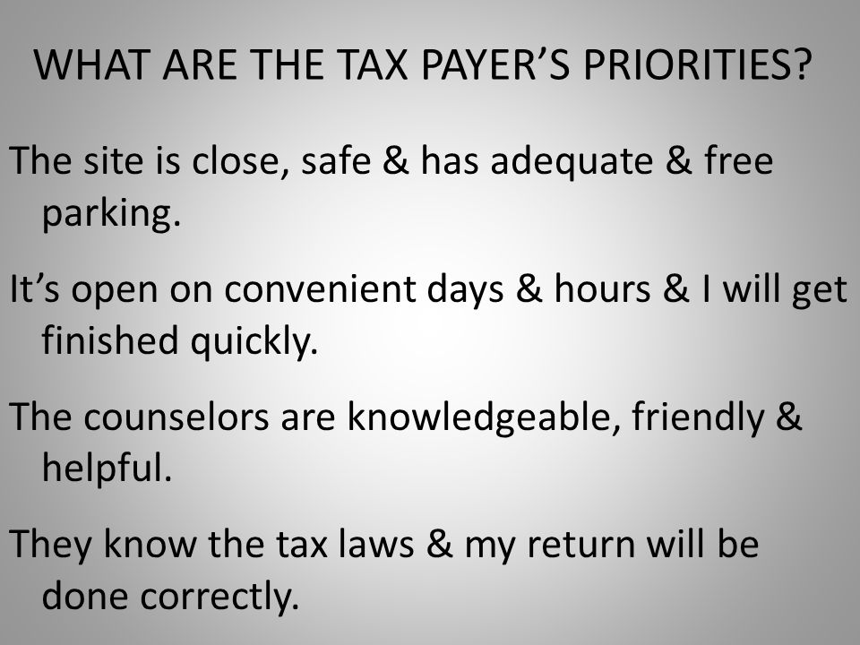 WHAT ARE THE TAX PAYER'S PRIORITIES. The site is close, safe & has adequate & free parking.