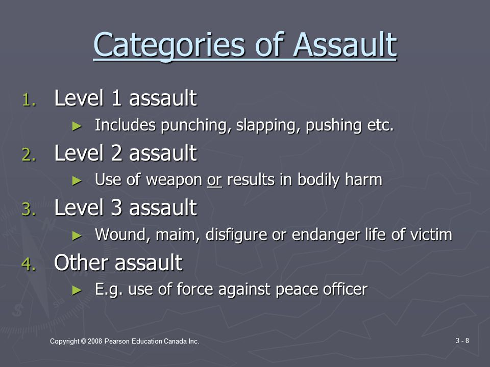 Copyright © 2008 Pearson Education Canada Inc. 3 - 8 Categories of Assault 1.