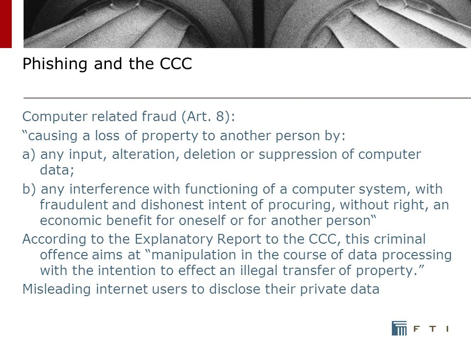 Phishing and the CCC Computer related fraud (Art.