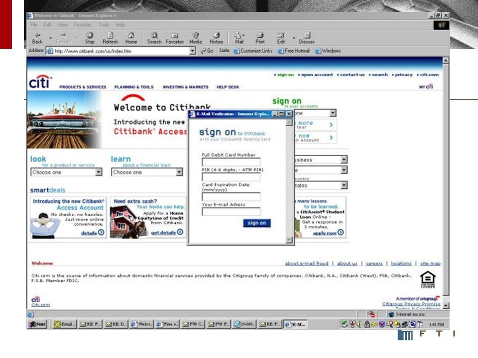 Phishing Statistics – Victim Attempts http://www.marshal.com/TRACE/phishing_statistics.asp Week ending 20 April, 2008
