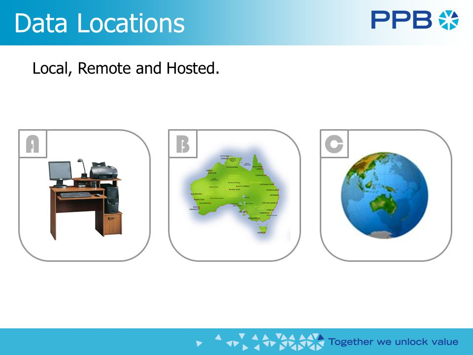 Local, Remote and Hosted. Data Locations BAC