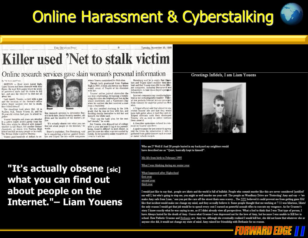Online Harassment & Cyberstalking It s actually obsene [sic] what you can find out about people on the Internet. – Liam Youens