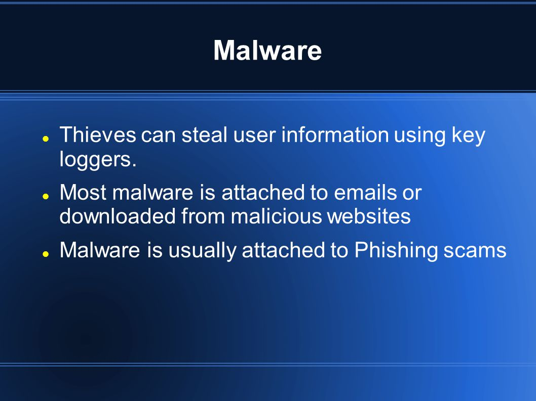 Phishing Play on the word fishing Tricks user to give away information Works by playing off the trust of the victim Early phishing attempts started off as claiming the victim won a prize or they had a chance for a big investment.