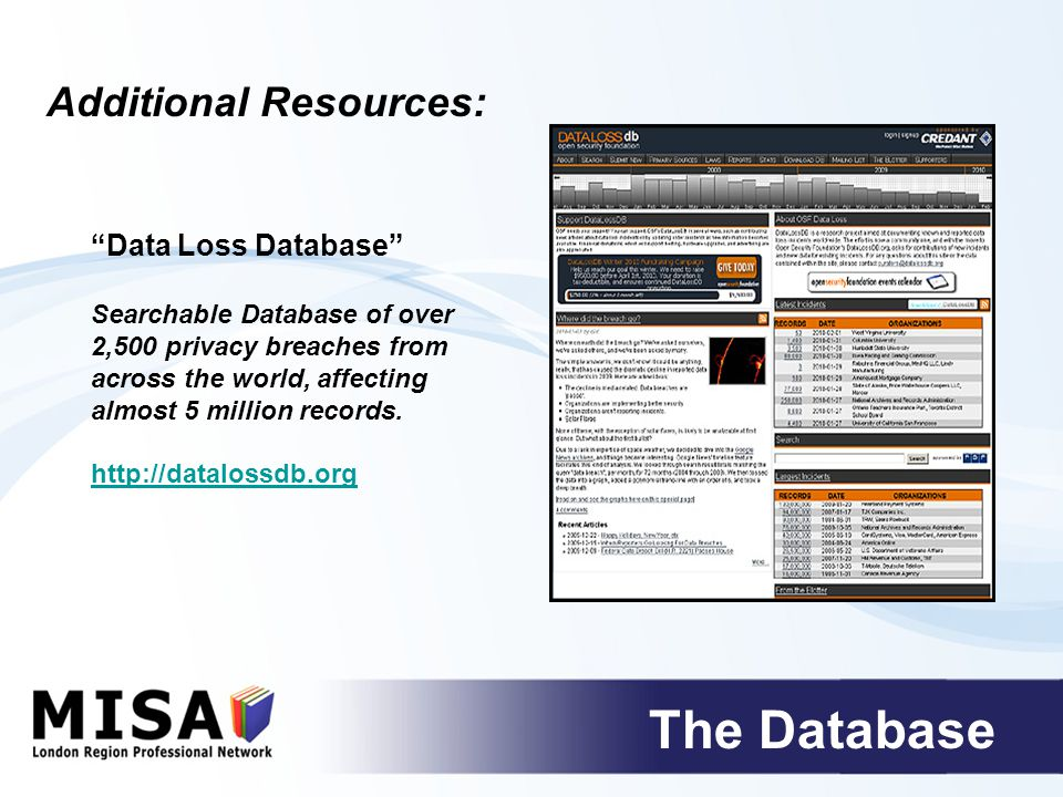The Database Data Loss Database Searchable Database of over 2,500 privacy breaches from across the world, affecting almost 5 million records.