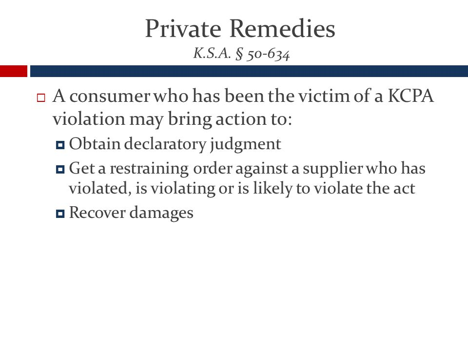 Private Remedies K.S.A.