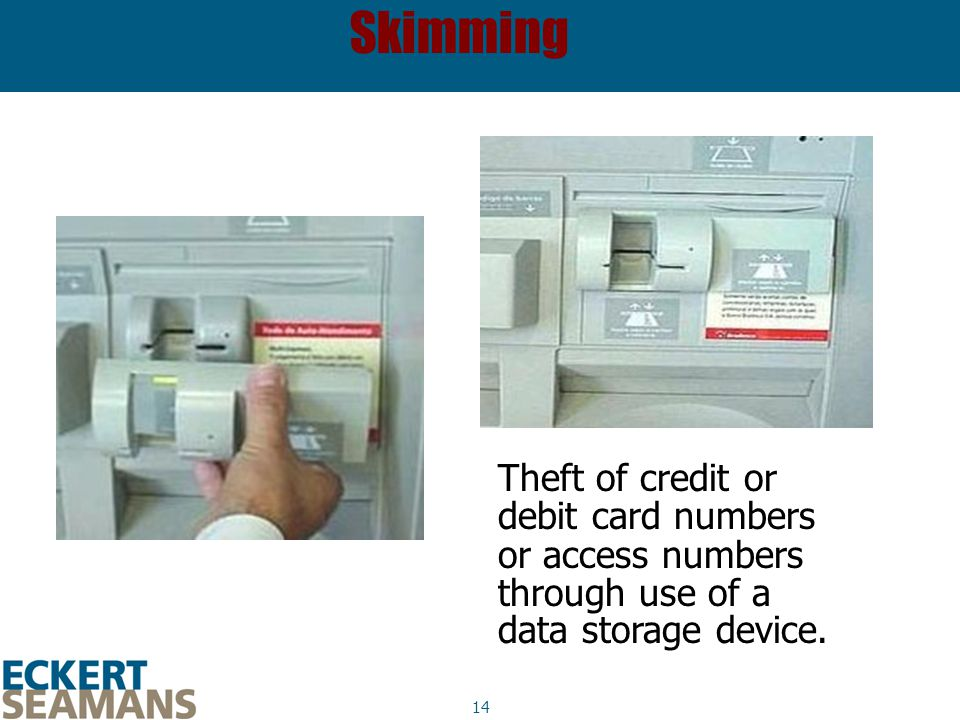 14 Skimming Theft of credit or debit card numbers or access numbers through use of a data storage device.