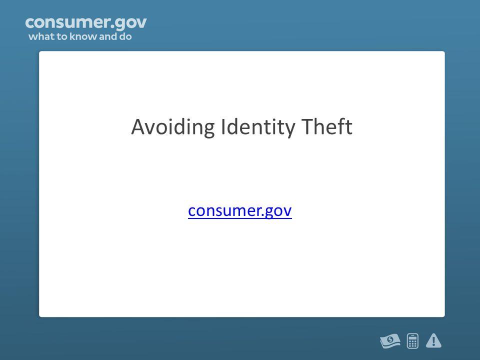 Avoiding Identity Theft consumer.gov