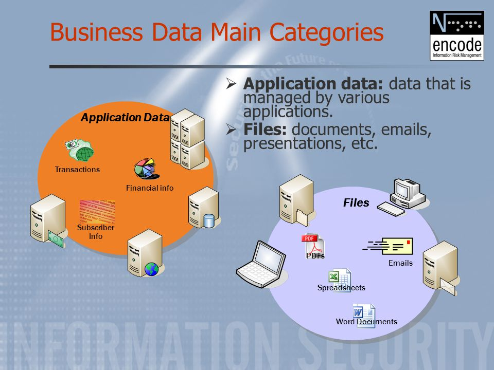 Business Data Main Categories Application Data Financial info Transactions Subscriber Info Files PDFs Spreadsheets Word Documents Emails  Application