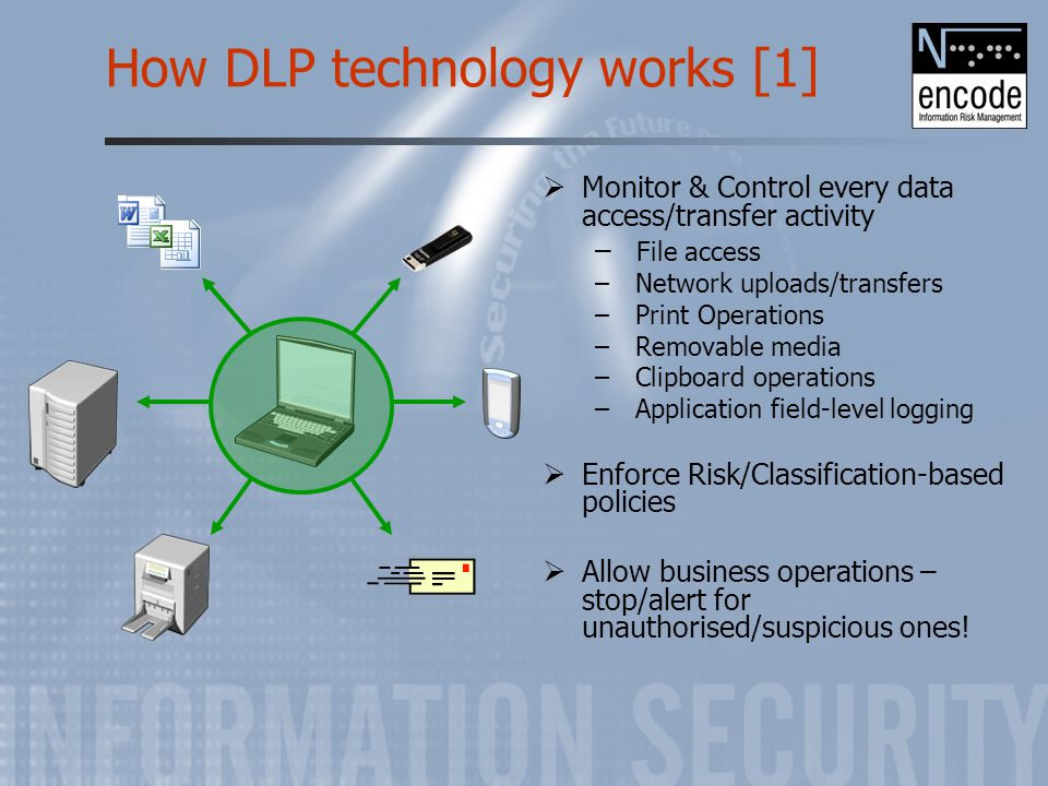 How DLP technology works [1]  Monitor & Control every data access/transfer activity – File access – Network uploads/transfers – Print Operations – Re