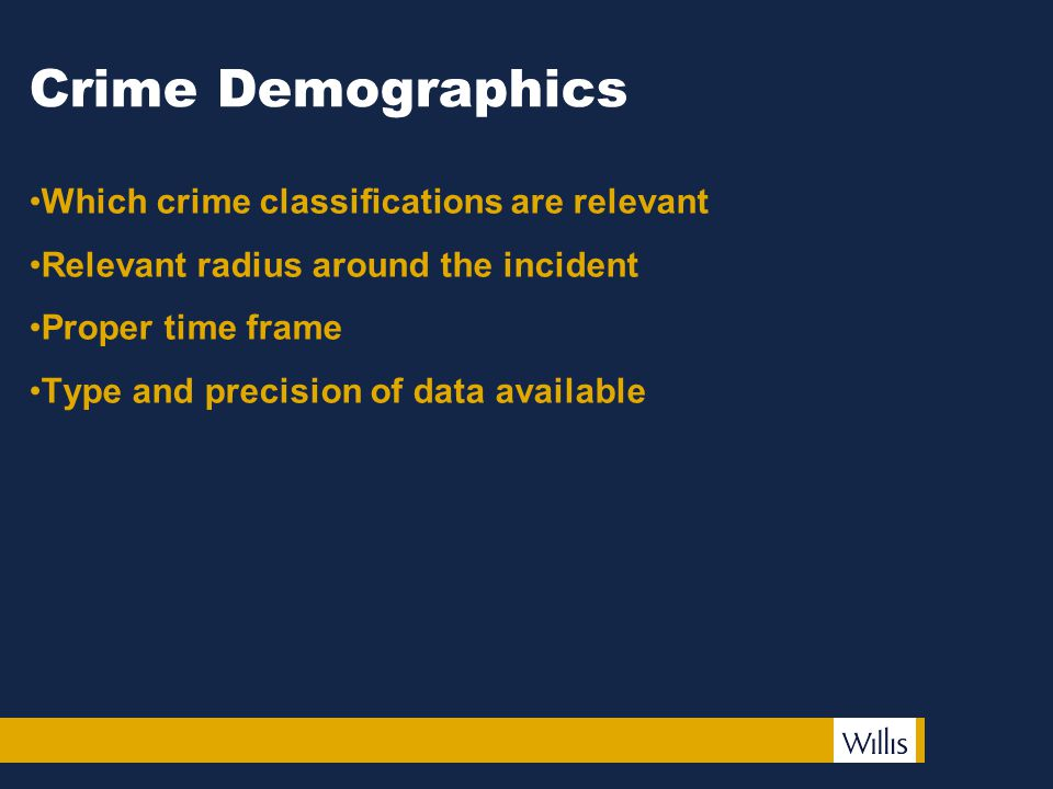 Crime Demographics Which crime classifications are relevant Relevant radius around the incident Proper time frame Type and precision of data available