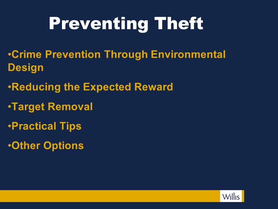 Preventing Theft Crime Prevention Through Environmental Design Reducing the Expected Reward Target Removal Practical Tips Other Options