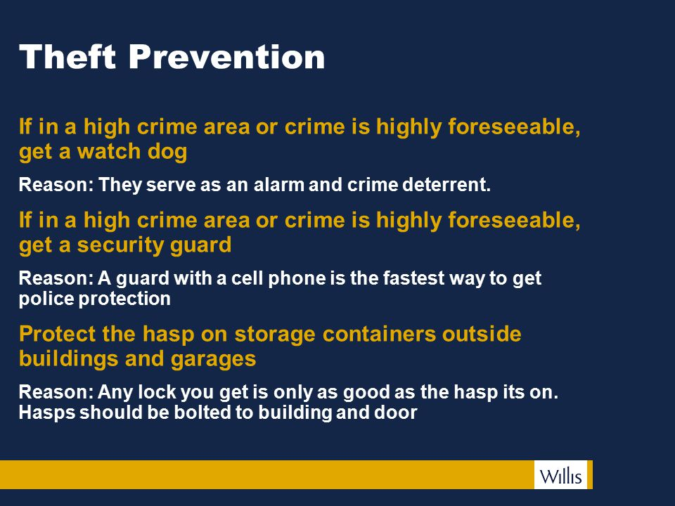 Theft Prevention If in a high crime area or crime is highly foreseeable, get a watch dog Reason: They serve as an alarm and crime deterrent.