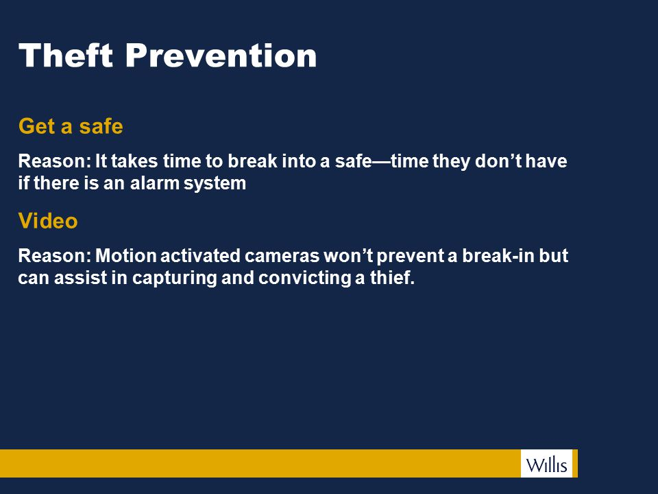 Theft Prevention Get a safe Reason: It takes time to break into a safe—time they don't have if there is an alarm system Video Reason: Motion activated cameras won't prevent a break-in but can assist in capturing and convicting a thief.