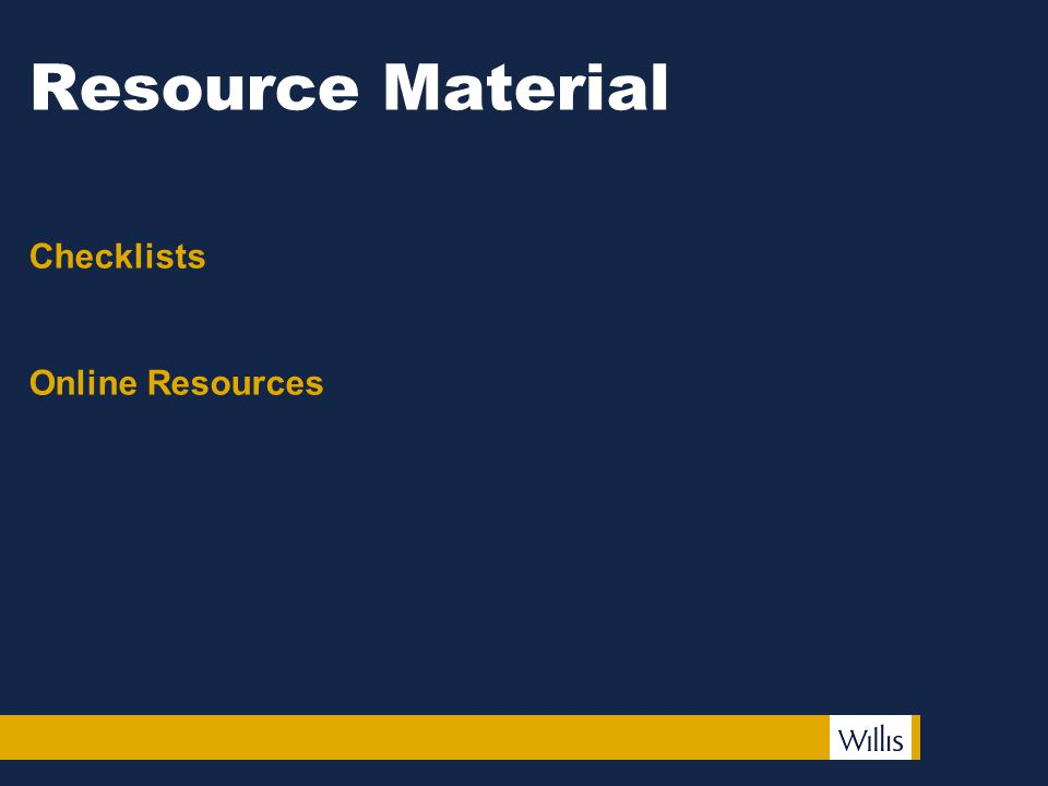 Resource Material Checklists Online Resources