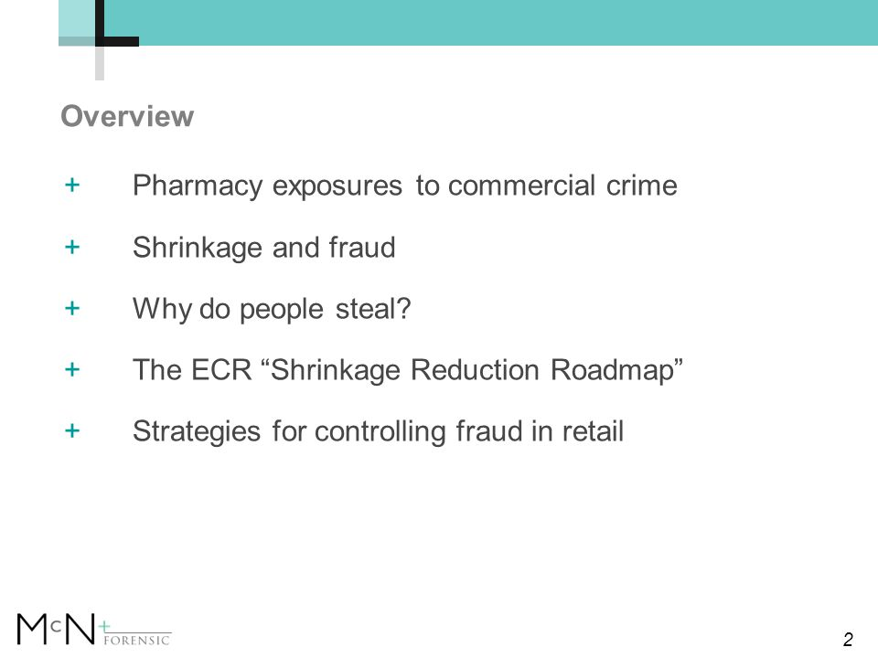 2 Overview +Pharmacy exposures to commercial crime +Shrinkage and fraud +Why do people steal.