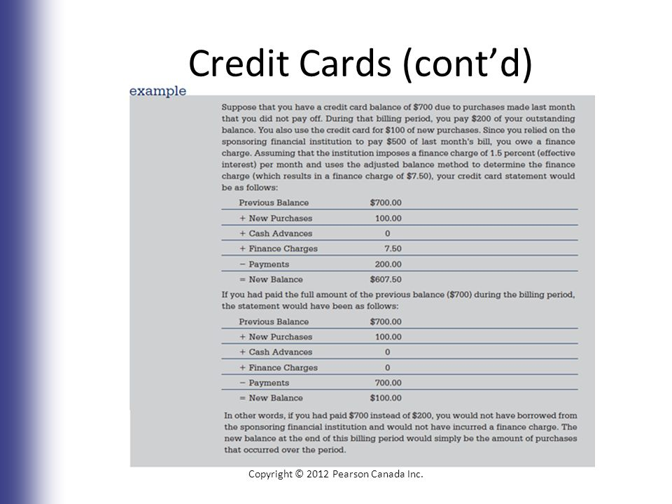 Credit Cards (cont'd) Copyright © 2012 Pearson Canada Inc. 6-26