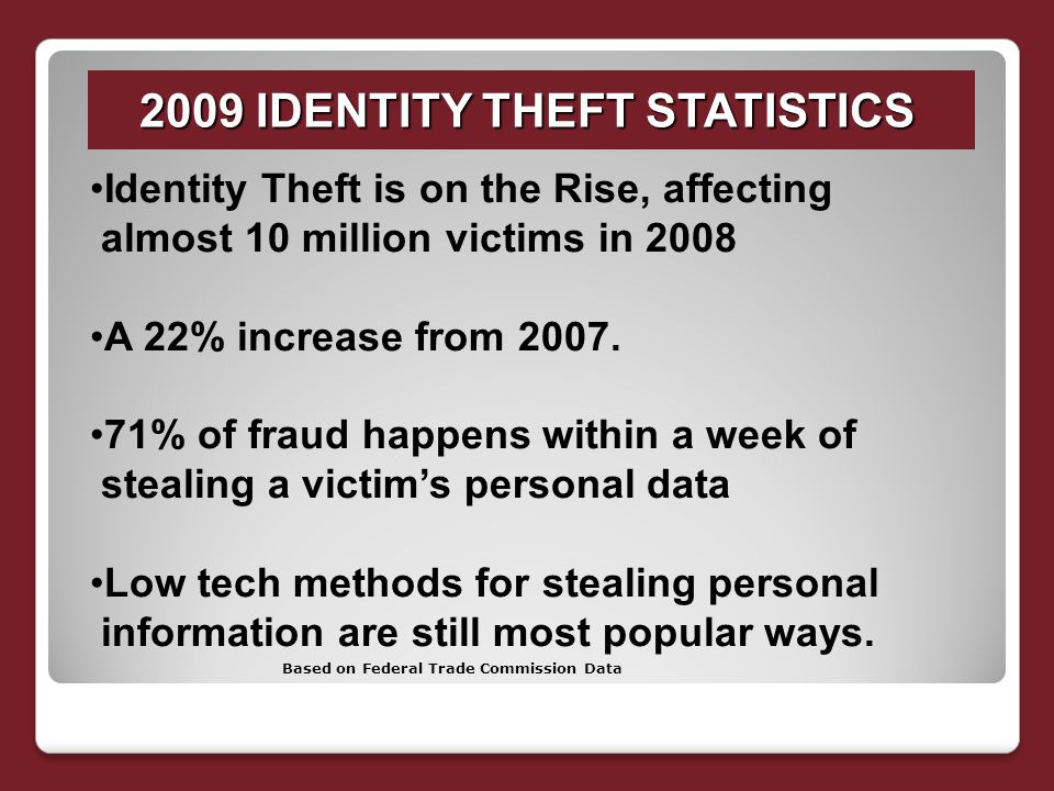 2009 IDENTITY THEFT STATISTICS Identity Theft is on the Rise, affecting almost 10 million victims in 2008 A 22% increase from 2007.