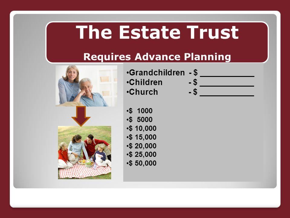 The Estate Trust Requires Advance Planning Grandchildren - $ ____________ Children - $ ____________ Church - $ ____________ $ 1000 $ 5000 $ 10,000 $ 15,000 $ 20,000 $ 25,000 $ 50,000