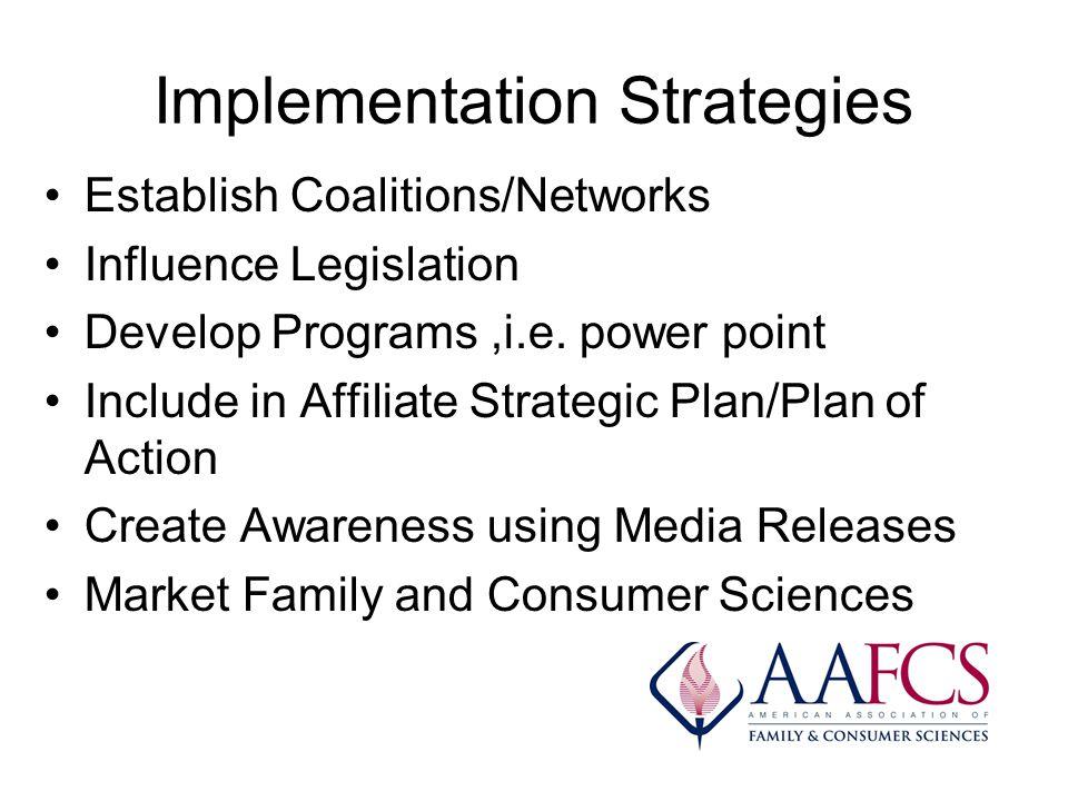 Implementation Strategies Establish Coalitions/Networks Influence Legislation Develop Programs,i.e. power point Include in Affiliate Strategic Plan/Pl