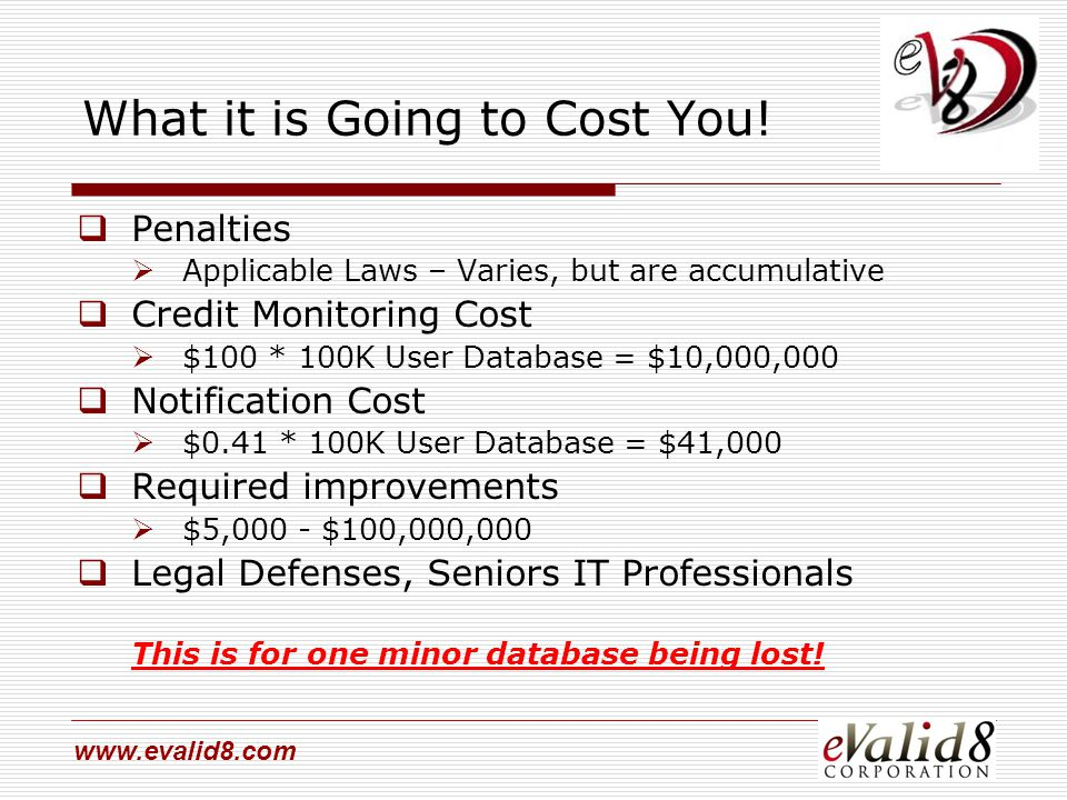 www.evalid8.com What it is Going to Cost You!  Penalties  Applicable Laws – Varies, but are accumulative  Credit Monitoring Cost  $100 * 100K User