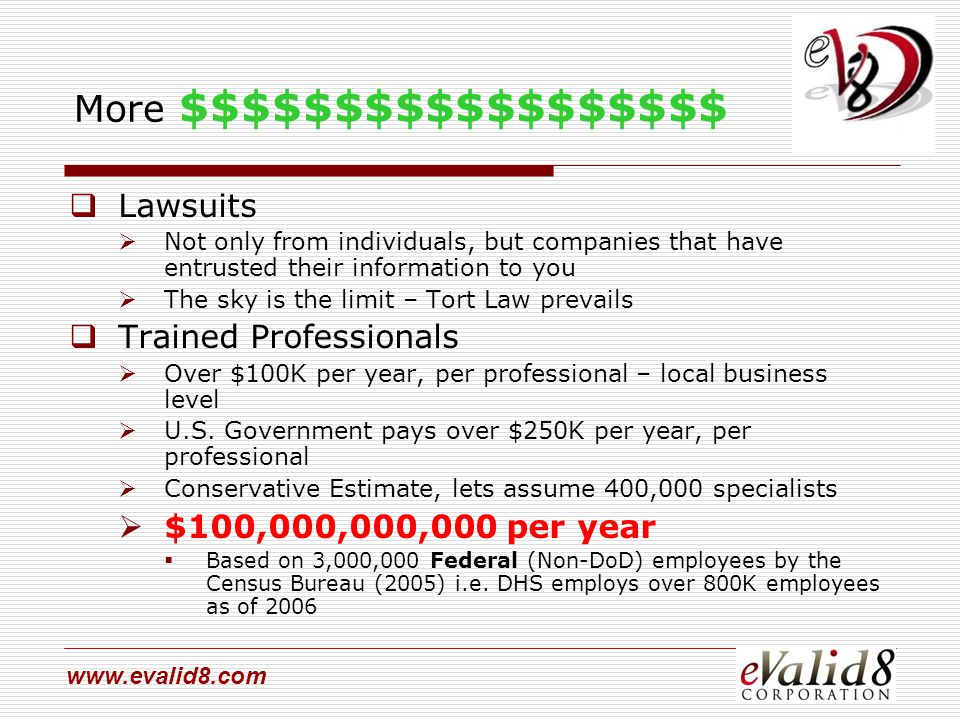 www.evalid8.com More $$$$$$$$$$$$$$$$$$  Lawsuits  Not only from individuals, but companies that have entrusted their information to you  The sky is the limit – Tort Law prevails  Trained Professionals  Over $100K per year, per professional – local business level  U.S.