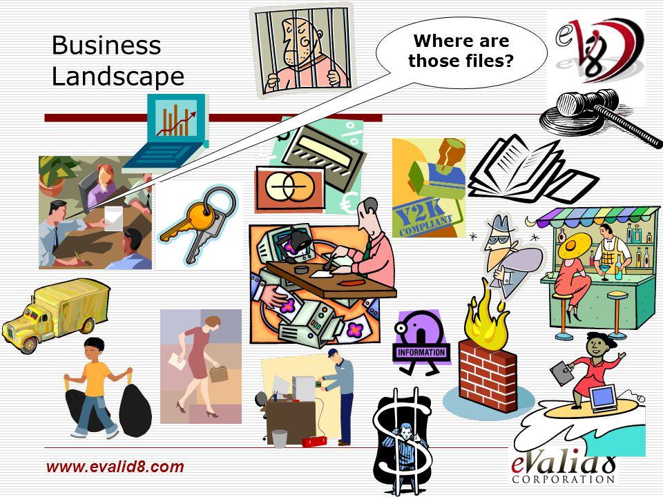 www.evalid8.com Where are those files? Business Landscape