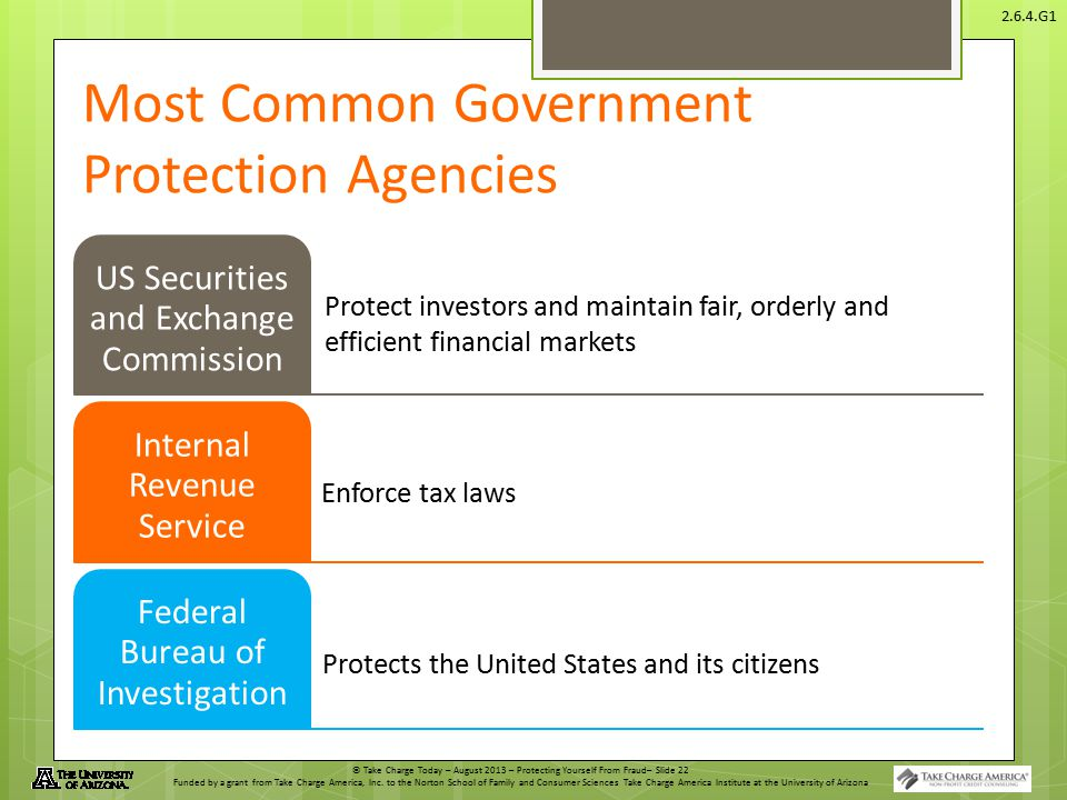 © Take Charge Today – August 2013 – Protecting Yourself From Fraud– Slide 22 Funded by a grant from Take Charge America, Inc.