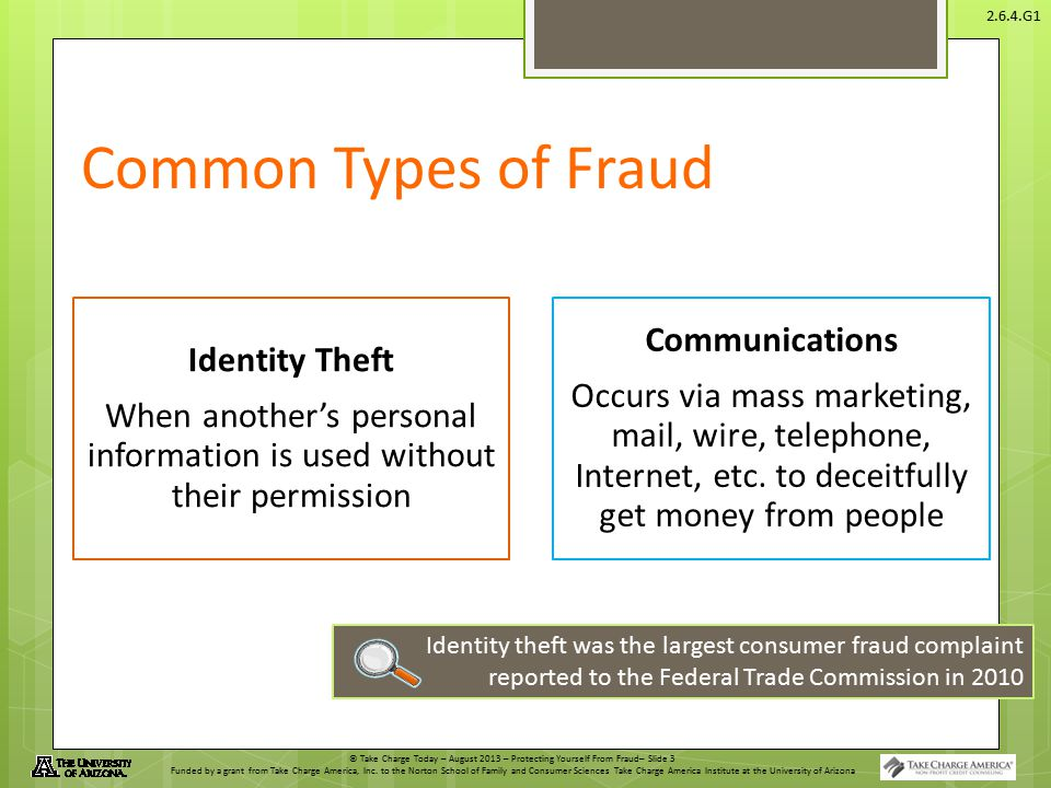 © Take Charge Today – August 2013 – Protecting Yourself From Fraud– Slide 3 Funded by a grant from Take Charge America, Inc.