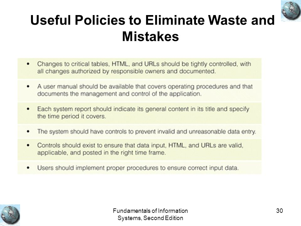Fundamentals of Information Systems, Second Edition 30 Useful Policies to Eliminate Waste and Mistakes