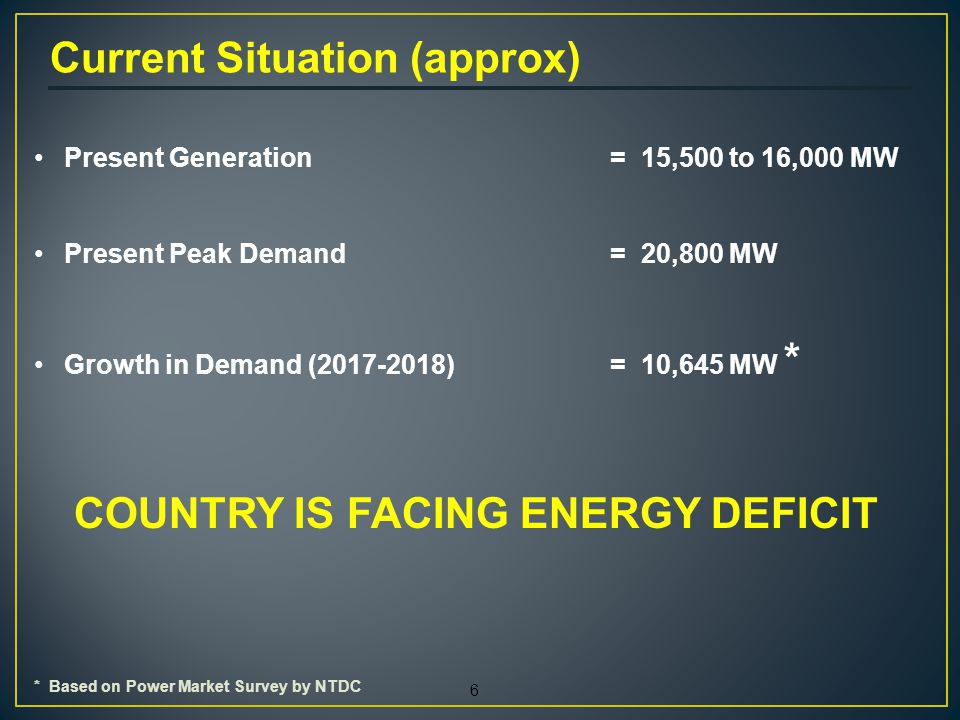 6 Present Generation = 15,500 to 16,000 MW Present Peak Demand= 20,800 MW Growth in Demand (2017-2018)= 10,645 MW * COUNTRY IS FACING ENERGY DEFICIT Current Situation (approx) * Based on Power Market Survey by NTDC