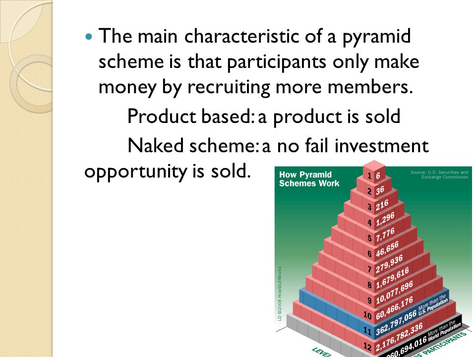 The main characteristic of a pyramid scheme is that participants only make money by recruiting more members.