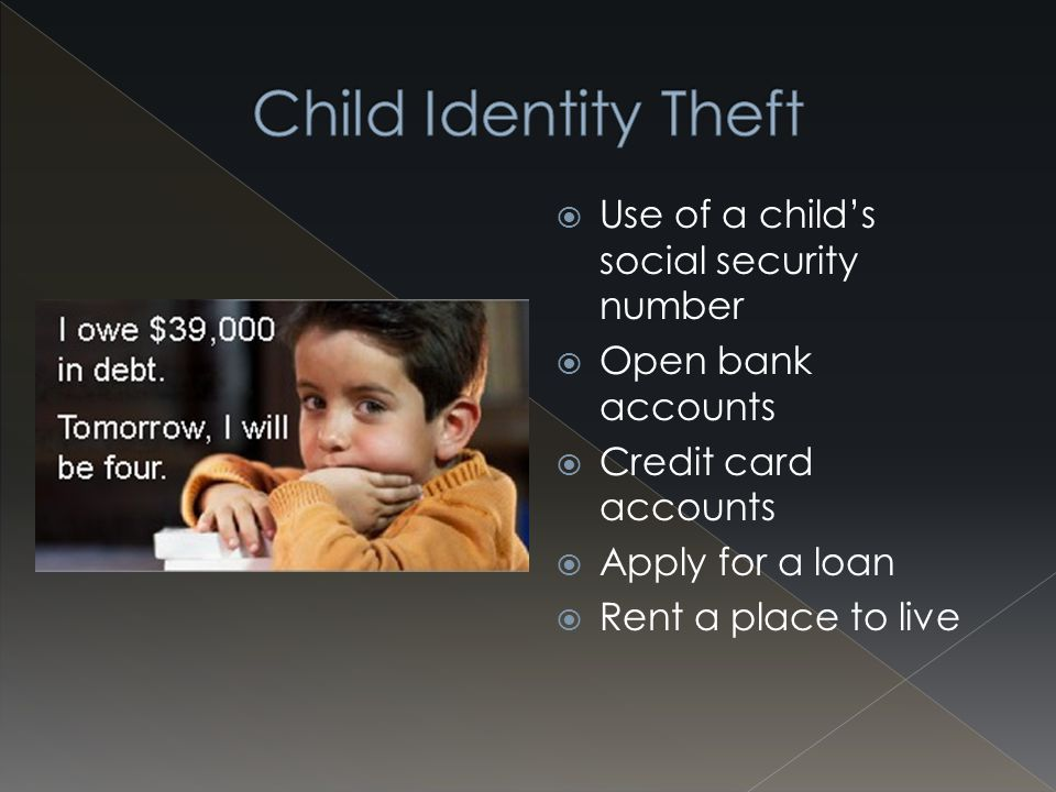 " Most complicated  Steals bits and pieces of identity  Creates a ""new Person""  Can then establish credit to use"