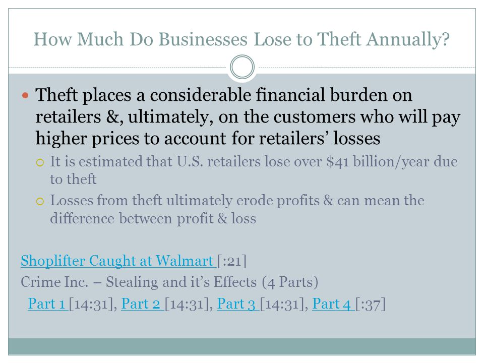 How Much Do Businesses Lose to Theft Annually? Theft places a considerable financial burden on retailers &, ultimately, on the customers who will pay