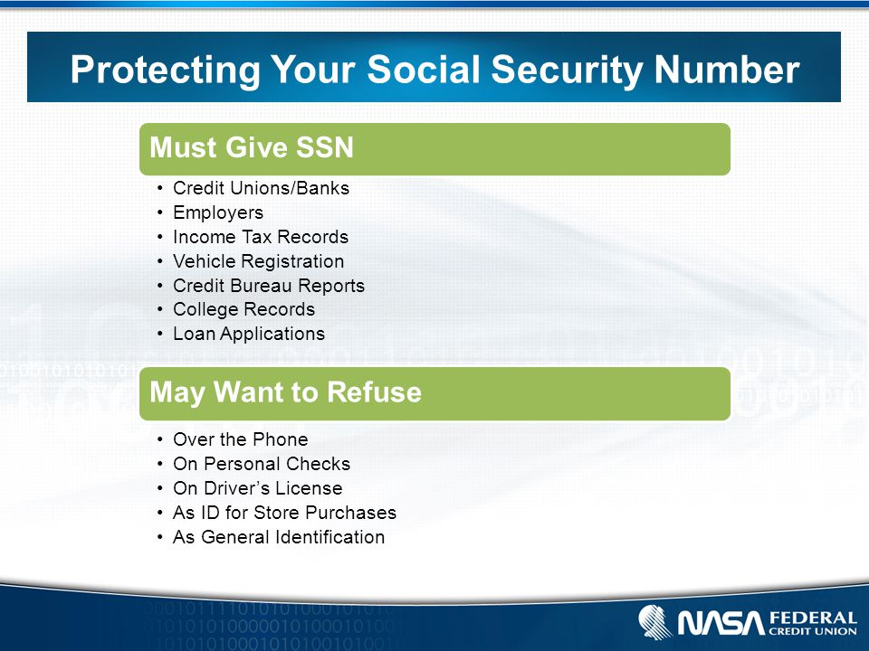 Protecting Your Social Security Number Must Give SSN Credit Unions/Banks Employers Income Tax Records Vehicle Registration Credit Bureau Reports College Records Loan Applications May Want to Refuse Over the Phone On Personal Checks On Driver's License As ID for Store Purchases As General Identification
