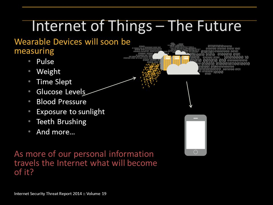 Internet of Things – The Future Wearable Devices will soon be measuring Pulse Weight Time Slept Glucose Levels Blood Pressure Exposure to sunlight Teeth Brushing And more… As more of our personal information travels the Internet what will become of it.