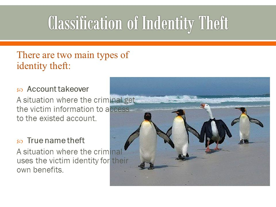 There are two main types of identity theft:  Account takeover A situation where the criminal get the victim information to access to the existed account.