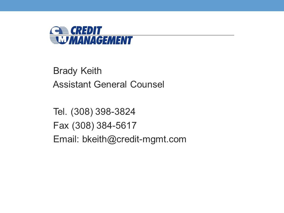 Brady Keith Assistant General Counsel Tel.