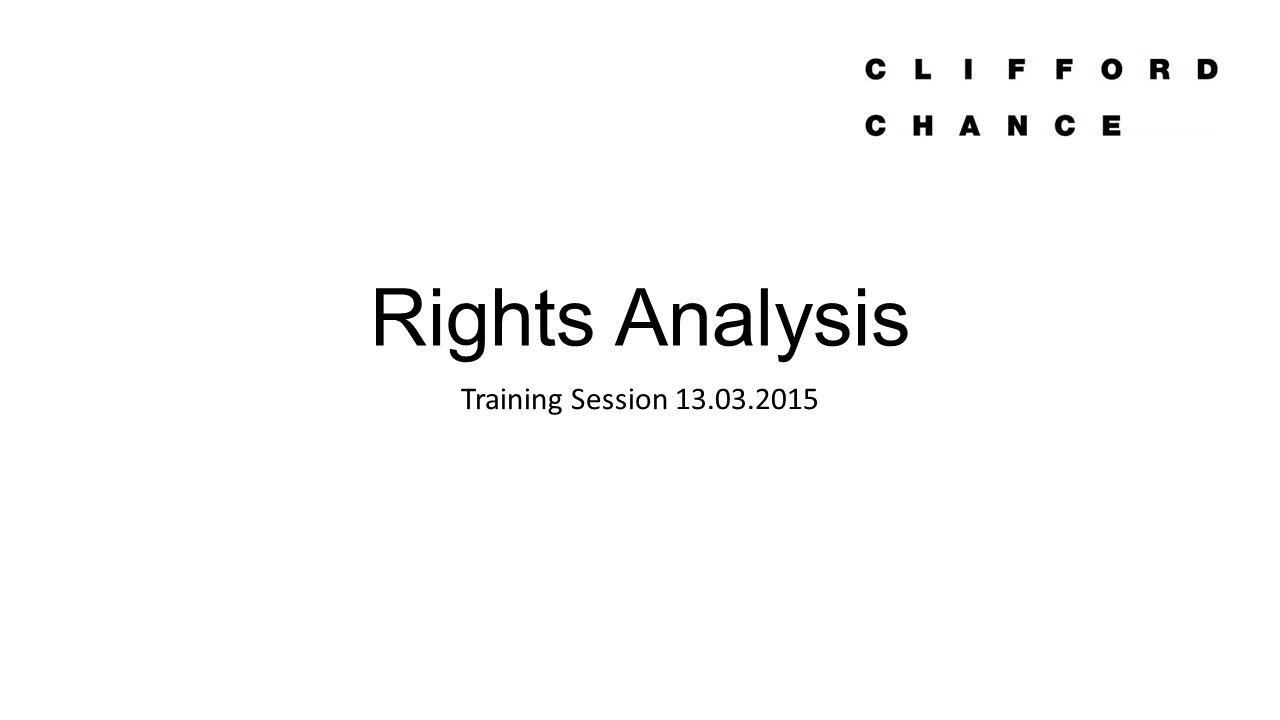 Rights Analysis Training Session 13.03.2015