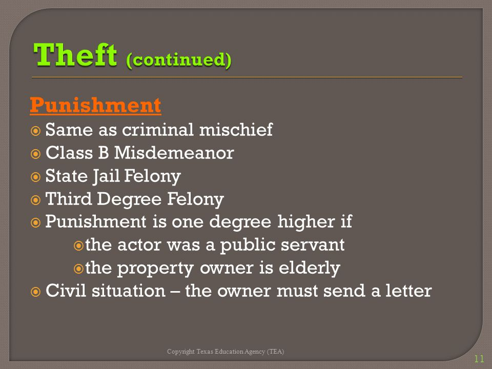 Punishment  Same as criminal mischief  Class B Misdemeanor  State Jail Felony  Third Degree Felony  Punishment is one degree higher if  the actor was a public servant  the property owner is elderly  Civil situation – the owner must send a letter Copyright Texas Education Agency (TEA) 11