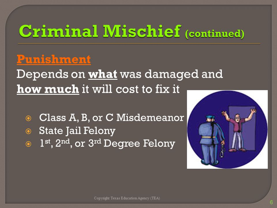 Punishment Depends on what was damaged and how much it will cost to fix it  Class A, B, or C Misdemeanor  State Jail Felony  1 st, 2 nd, or 3 rd De
