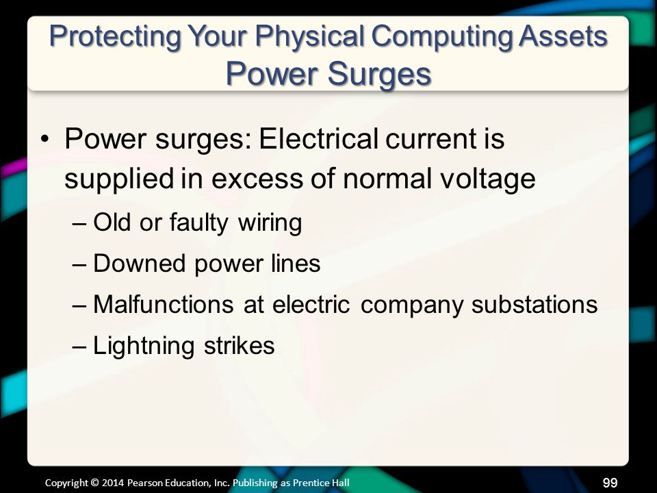 Protecting Your Physical Computing Assets Power Surges Power surges: Electrical current is supplied in excess of normal voltage –Old or faulty wiring –Downed power lines –Malfunctions at electric company substations –Lightning strikes Copyright © 2014 Pearson Education, Inc.