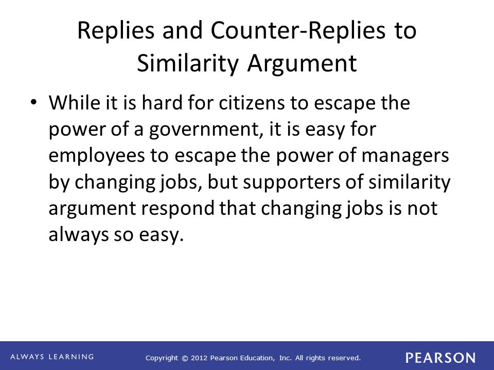 Copyright © 2012 Pearson Education, Inc. All rights reserved. Replies and Counter-Replies to Similarity Argument While it is hard for citizens to esca