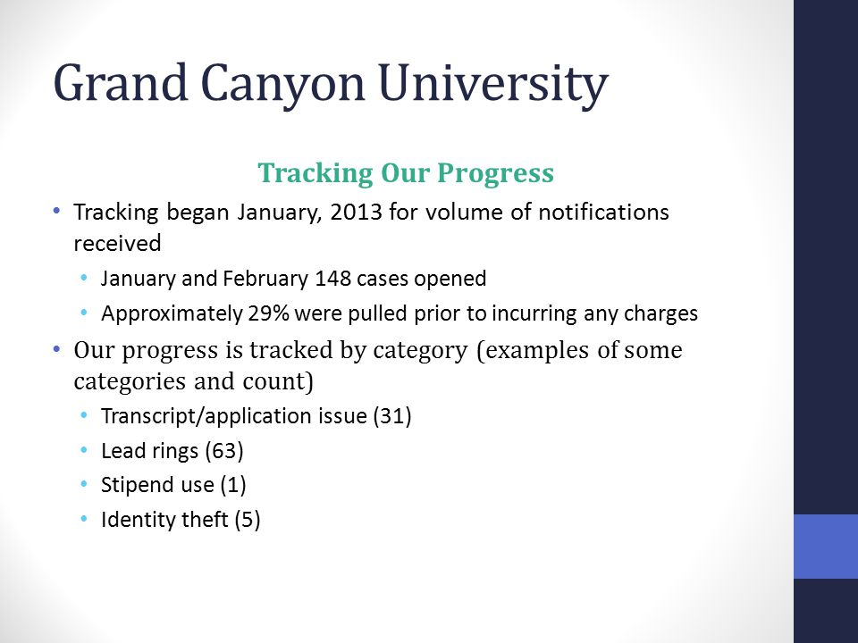 Grand Canyon University Tracking Our Progress Tracking began January, 2013 for volume of notifications received January and February 148 cases opened Approximately 29% were pulled prior to incurring any charges Our progress is tracked by category (examples of some categories and count) Transcript/application issue (31) Lead rings (63) Stipend use (1) Identity theft (5)