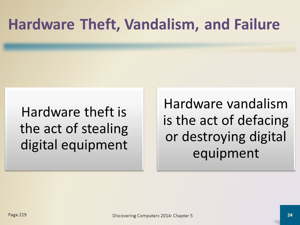 Hardware Theft, Vandalism, and Failure Hardware theft is the act of stealing digital equipment Hardware vandalism is the act of defacing or destroying