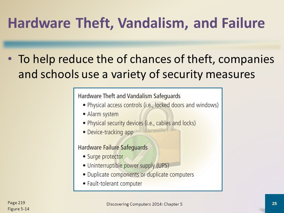 Hardware Theft, Vandalism, and Failure To help reduce the of chances of theft, companies and schools use a variety of security measures Discovering Co