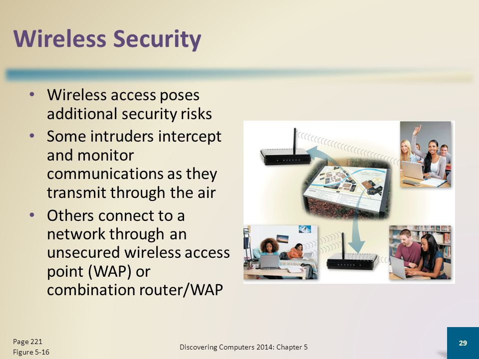 Wireless Security Wireless access poses additional security risks Some intruders intercept and monitor communications as they transmit through the air