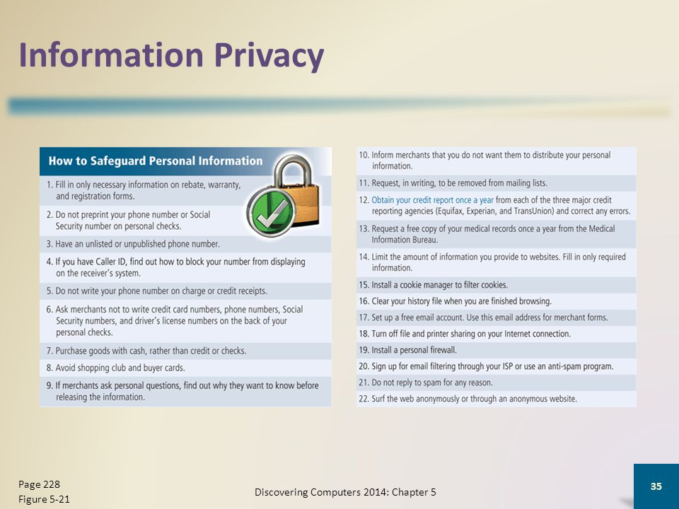 Information Privacy Discovering Computers 2014: Chapter 5 35 Page 228 Figure 5-21