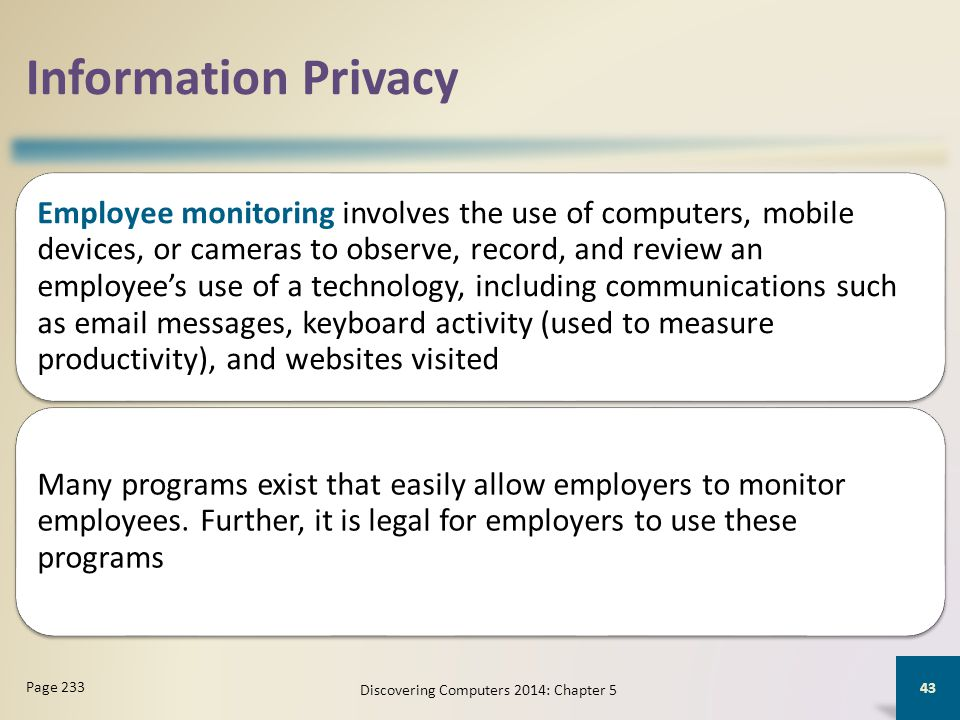 Information Privacy Employee monitoring involves the use of computers, mobile devices, or cameras to observe, record, and review an employee's use of