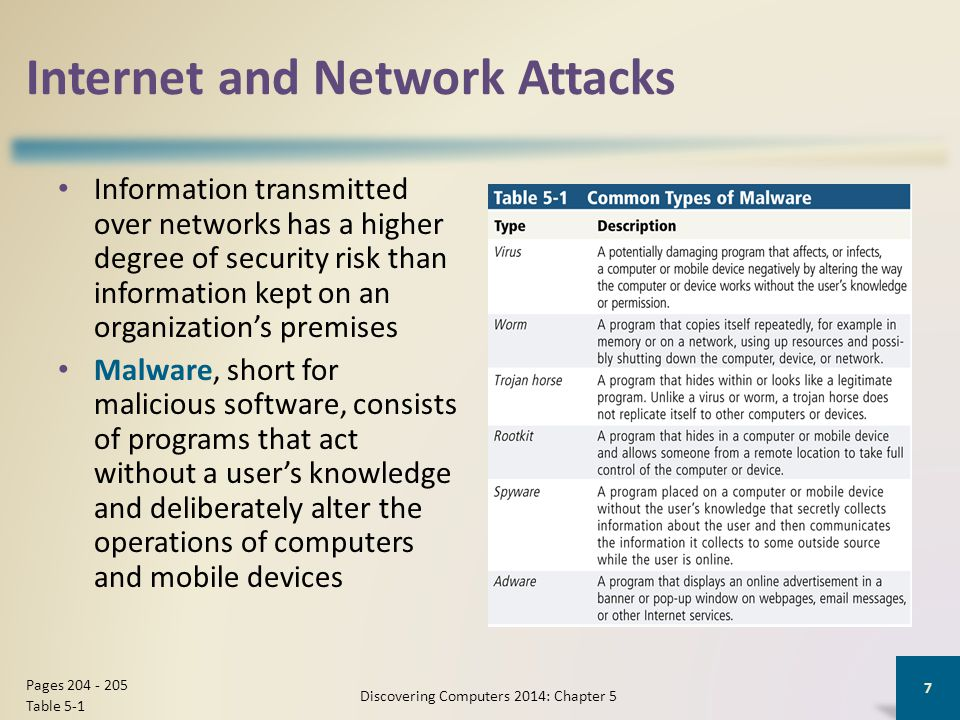 Internet and Network Attacks Information transmitted over networks has a higher degree of security risk than information kept on an organization's pre